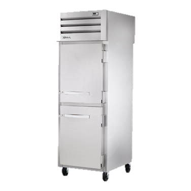 superior-equipment-supply - True Food Service Equipment - True One Section Two Stainless Steel Half Door Front & One Stainless Steel Rear Door Pass-Thru Refrigerator