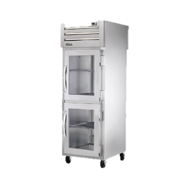superior-equipment-supply - True Food Service Equipment - True One Section Two Glass Half Door Front & One Stainless Steel Door Rear Pass-Thru Refrigerator