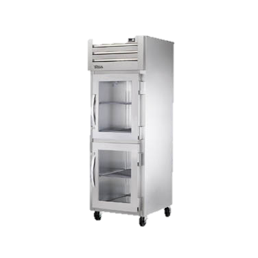 superior-equipment-supply - True Food Service Equipment - True One Section Stainless Steel Front & Side Two Glass Half Door Reach-In Refrigerator