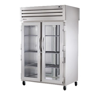 superior-equipment-supply - True Food Service Equipment - True Two Section Two Glass Door Front & Two Stainless Steel  Door Rear Pass-Thru Heated Cabinet