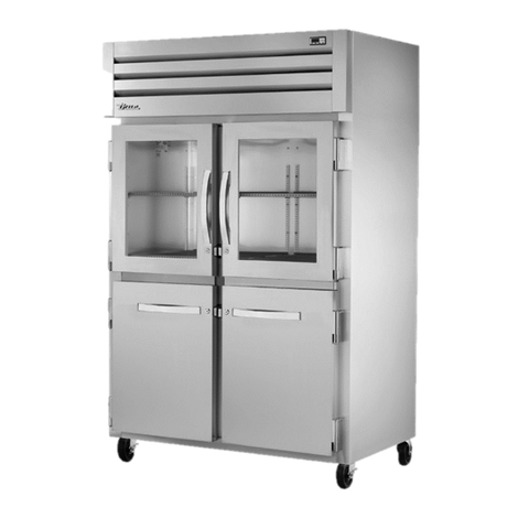 superior-equipment-supply - True Food Service Equipment - True Two Section Two Glass Half Door & Two Stainless Steel Half Door Front Reach-In Refrigerator