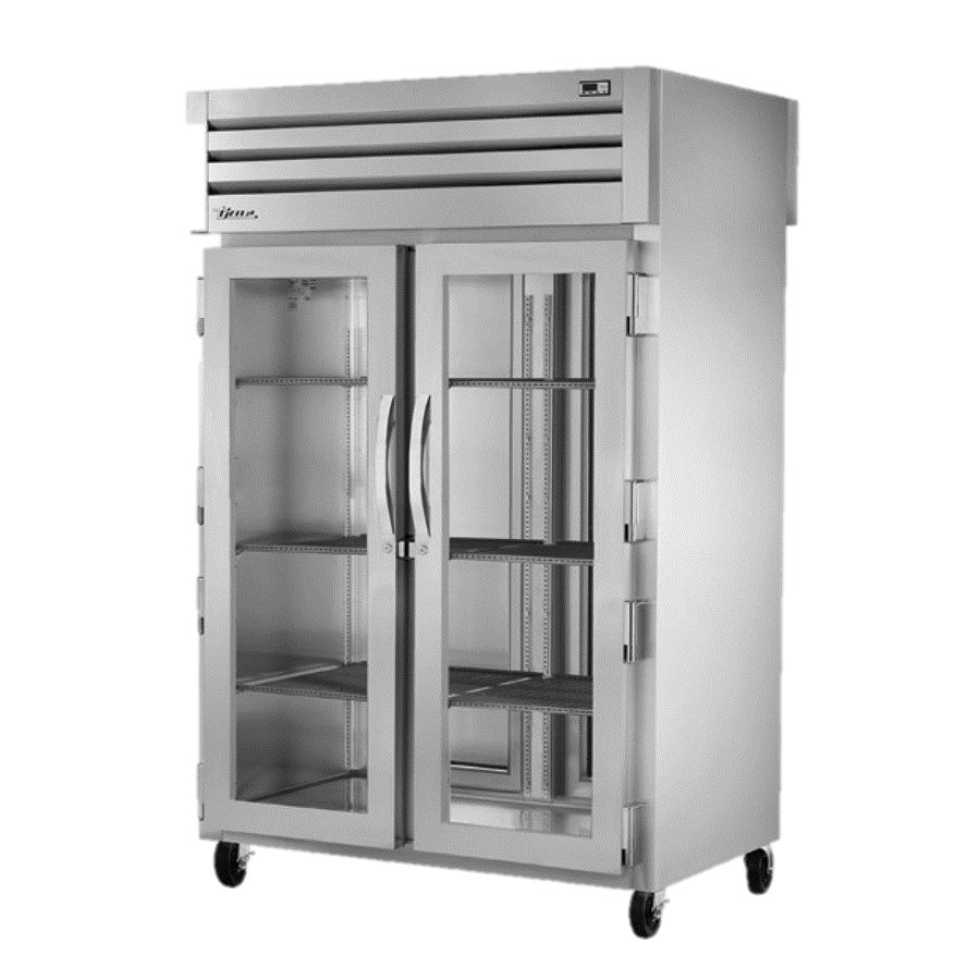 True Two Section Two Front Glass Door & Two Rear Stainless Steel Door Pass-Thru Refrigerator