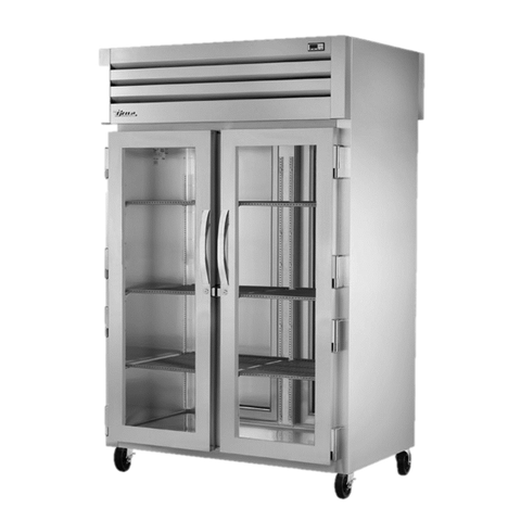 superior-equipment-supply - True Food Service Equipment - True Two Section Two Front Glass Door & Two Rear Stainless Steel Door Pass-Thru Refrigerator