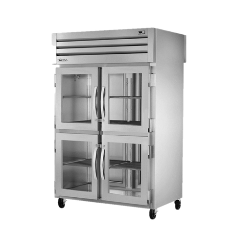 superior-equipment-supply - True Food Service Equipment - True Two Section Four Glass Half Door Front & Two Stainless Steel Door Rear Pass-Thru Refrigerator