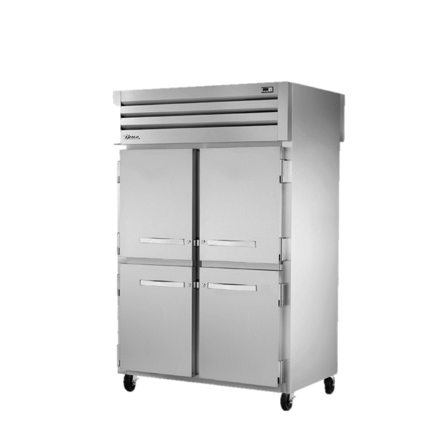 superior-equipment-supply - True Food Service Equipment - True Two Section Four Stainless Steel Half Door Front & Two Glass Door Rear Pass-Thru Refrigerator
