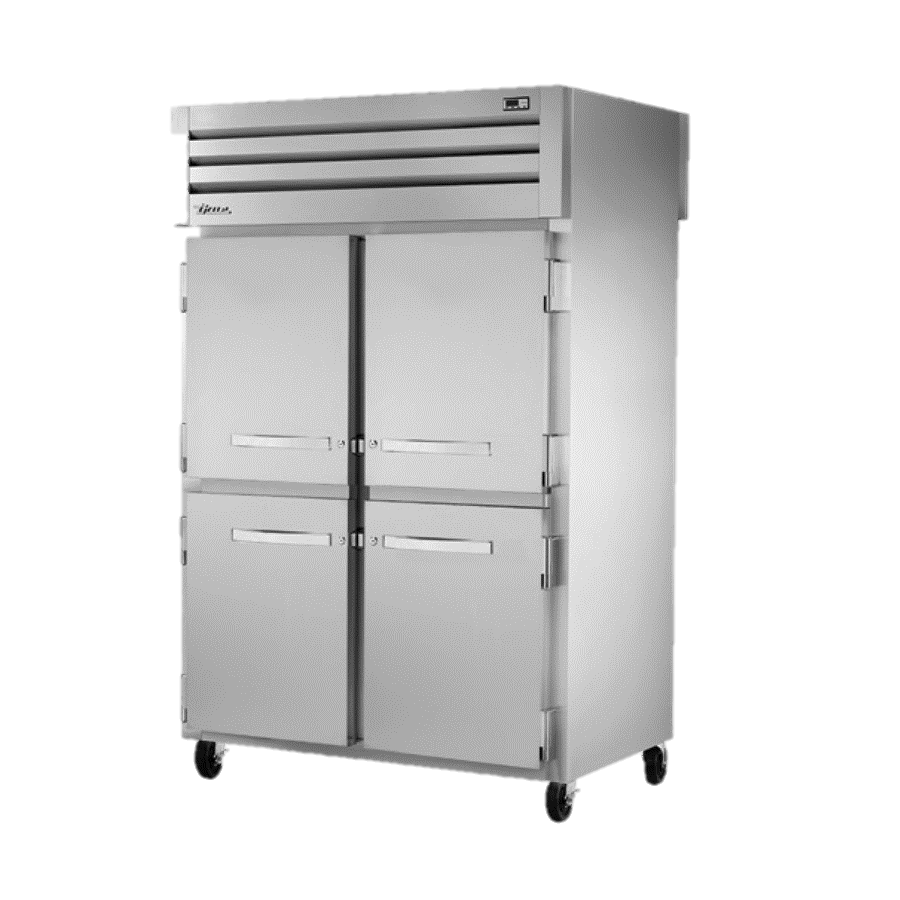True Two Section Four Stainless Steel Half Door Front & Two Stainless Steel Door Rear Pass-Thru Refrigerator