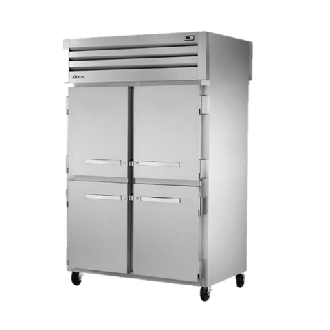 superior-equipment-supply - True Food Service Equipment - True Two Section Four Stainless Steel Half Door Front & Two Stainless Steel Door Rear Pass-Thru Refrigerator