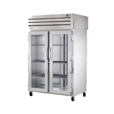 superior-equipment-supply - True Food Service Equipment - True Two-Section Two Glass Door Front Two Stainless Steel Door Rear Pass-Thru Refrigerator