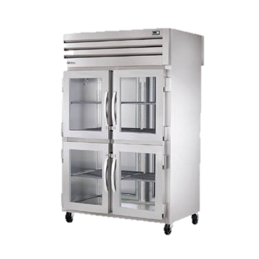 superior-equipment-supply - True Food Service Equipment - True Two Section Four Glass Half Door Front Two Stainless Steel Door Rear Pass-Thru Refrigerator