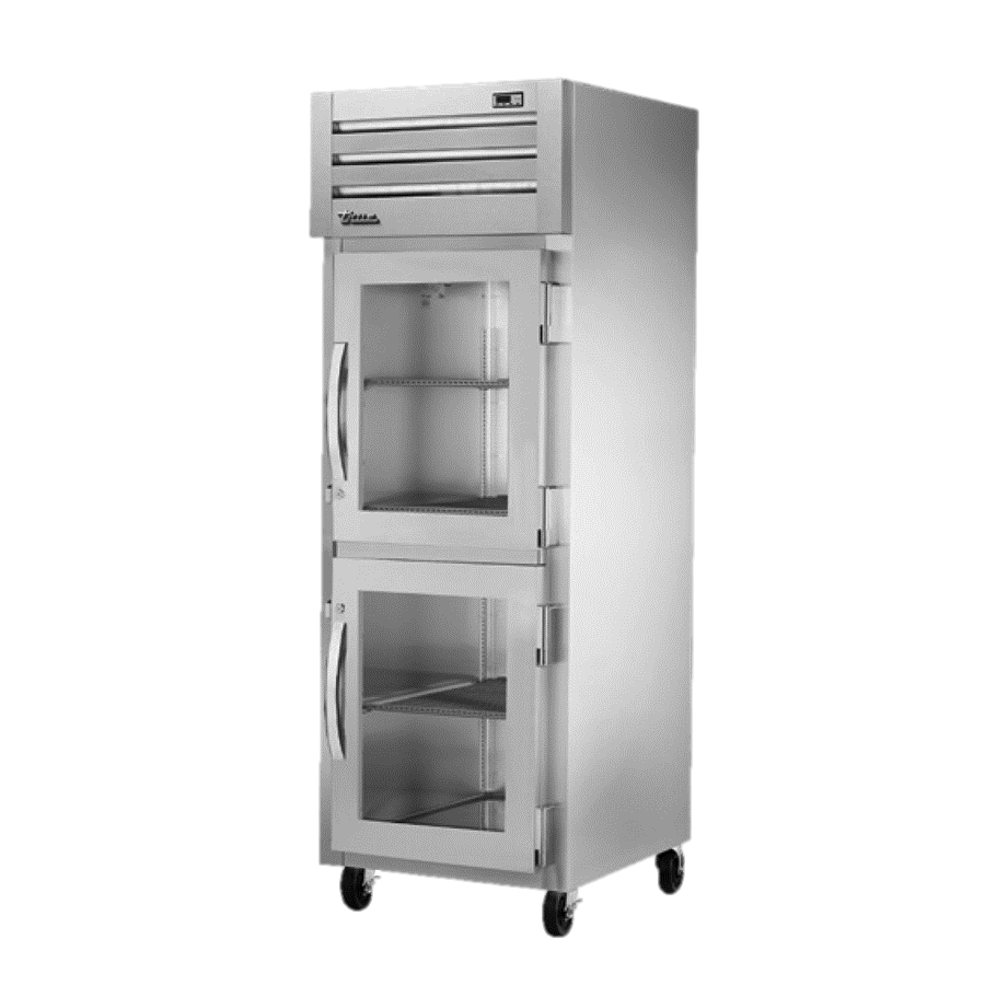 True One Section Two Glass Steel Half Door Reach-In Freezer
