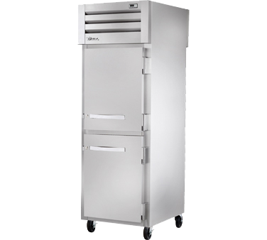 superior-equipment-supply - True Food Service Equipment - True One-Section Two Stainless Steel Half Door Front & One Glass Door Rear Pass-Thru Refrigerator