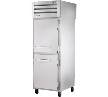 superior-equipment-supply - True Food Service Equipment - True One-Section Two Stainless Steel Half Door Front & One Stainless Steel Door Rear Pass-Thru Refrigerator