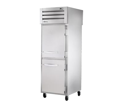 superior-equipment-supply - True Food Service Equipment - True One-Section Two Stainless Steel Half Door Front & Two Stainless Steel Half Door Rear Pass-Thru Refrigerator