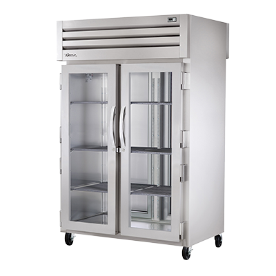 superior-equipment-supply - True Food Service Equipment - True Two Glass Door Front & Two Stainless Steel Door Rear Pass-Thru Heated Cabinet