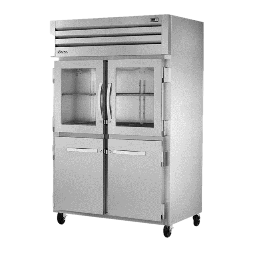 True Two-Section Two Glass Half Door & Two Stainless Steel Half Door Front Reach-In Refrigerator
