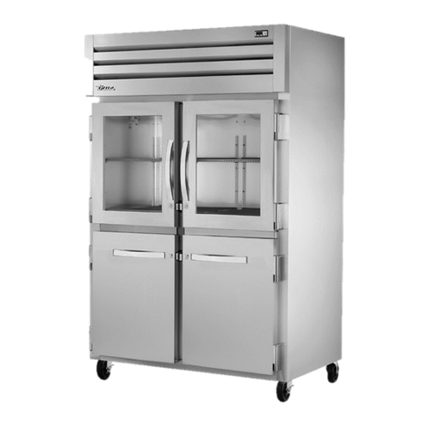 superior-equipment-supply - True Food Service Equipment - True Two-Section Two Glass Half Door & Two Stainless Steel Half Door Front Reach-In Refrigerator