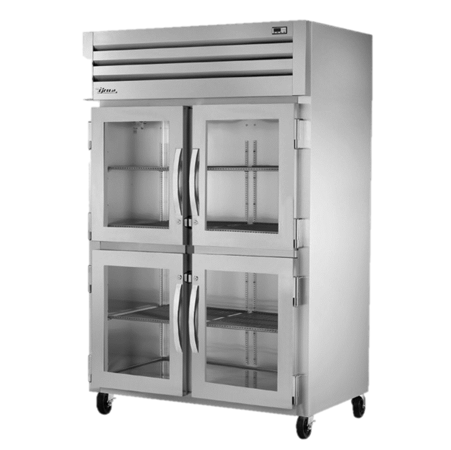 True Two-Section Four Glass Half Door Reach-In Refrigerator