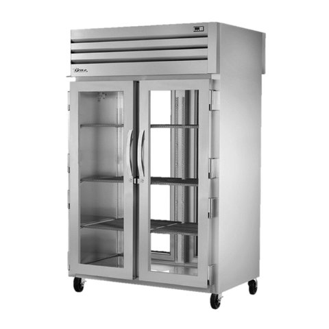 superior-equipment-supply - True Food Service Equipment - True Stainless Steel Two-Section Two Glass Door Front & Rear Pass-Thru Refrigerator