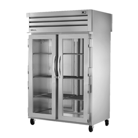 superior-equipment-supply - True Food Service Equipment - True Two-Section Two Glass Door Front & Two Stainless Steel Door Rear Pass-Thru Refrigerator