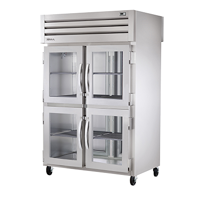 True Two-Section Four Glass Half Door Front & Two S/S Door Rear Pass-Thru Refrigerator