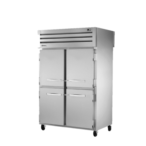 superior-equipment-supply - True Food Service Equipment - True Two-Section Four S/S Half Door Front & Two Glass Door Rear Pass-Thru Refrigerator