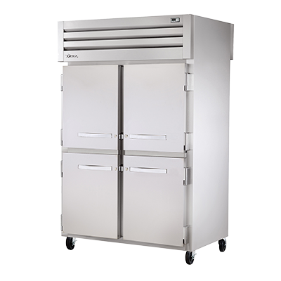 superior-equipment-supply - True Food Service Equipment - True Two-Section Four Stainless Steel Half Door Front & Two Stainless Steel Door Rear Pass-Thru Refrigerator