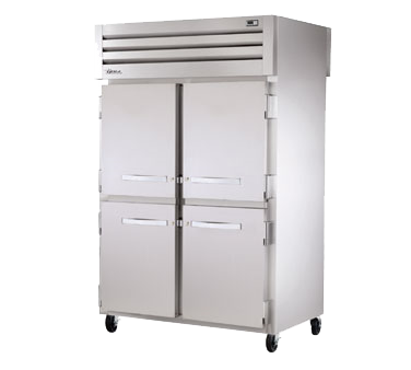 True Two-Section Four S/S Half Door Front & Rear Pass-Thru Refrigerator