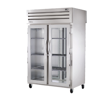 superior-equipment-supply - True Food Service Equipment - True Two-Section Two Glass Front Door & Two Stainless Steel Rear Door Pass-Thru Refrigerator