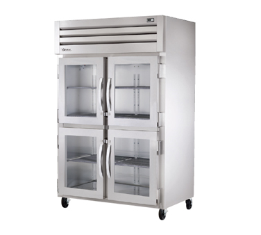 superior-equipment-supply - True Food Service Equipment - True  Stainless Steel Two-Section Four Glass Half Door Reach-In Refrigerator