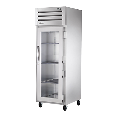 True Stainless Steel One-Section One Glass Door Reach-In Freezer