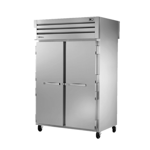 superior-equipment-supply - True Food Service Equipment - True Two-Section Two Stainless Steel Door Front & Two Glass Door Rear Pass-Thru Refrigerator
