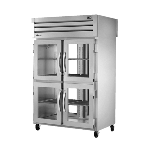 superior-equipment-supply - True Food Service Equipment - True Two-Section Four Glass Half Door Front & Two Glass Door Rear Pass-Thru Refrigerator