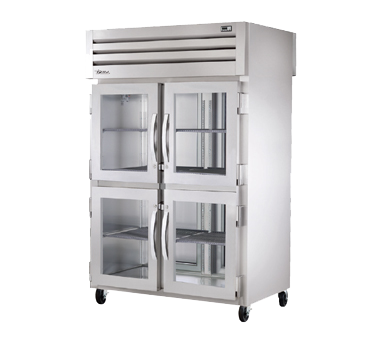 superior-equipment-supply - True Food Service Equipment - True Two-Section Four Glass Half Door Front & Two S/S Door Rear Pass-Thru Refrigerator