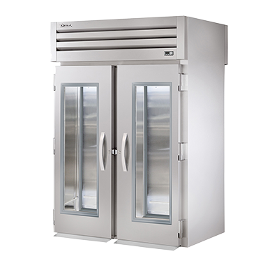 superior-equipment-supply - True Food Service Equipment - True Two-Section Two Glass Door Front & Two Stainless Steel Door Rear Roll-Thru Refrigerator
