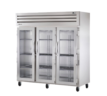 True Three-Section Three Glass Door Reach-In Refrigerator