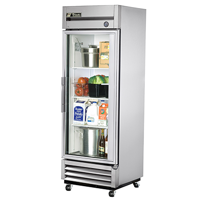 True Stainless Steel One-Section One Glass Door Reach-In Refrigerator