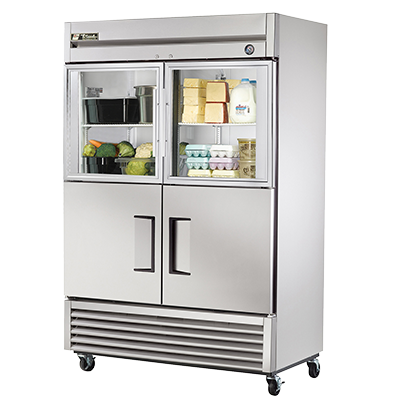 superior-equipment-supply - True Food Service Equipment - True Two-Section Two Glass & Two Stainless Steel Half Door Reach-In Refrigerator