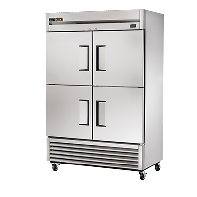 True Two-Section Four Stainless Steel Half Door Reach-In Freezer