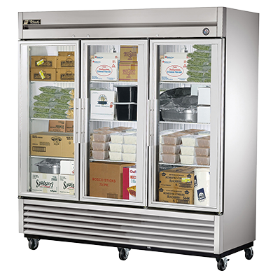 superior-equipment-supply - True Food Service Equipment - True Stainless Steel Three-Section Three Glass Door Reach-In Freezer