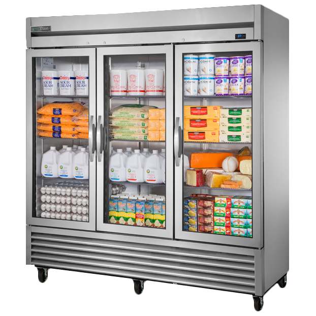 superior-equipment-supply - True Food Service Equipment - True Stainless Steel Three-Section Three Glass Door Reach-In Refrigerator