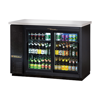 "superior-equipment-supply - True Food Service Equipment - True Two-Section Two Glass Sliding Door Black Vinyl Exterior Backbar Cooler 49""W"