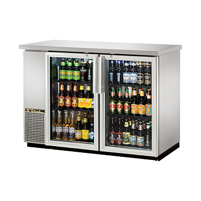 "True Two-Section Two Glass Door Stainless Steel Exterior Backbar Cooler 49""W"
