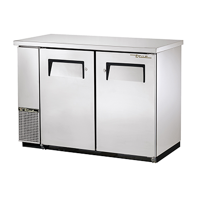 "True Two-Section Two Stainless Steel Door Galvanized Interior Backbar Cooler 49""W"