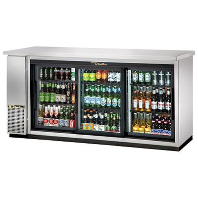"True Three-Section Three Glass Sliding Door Galvanized Interior Backbar Cooler 73""W"