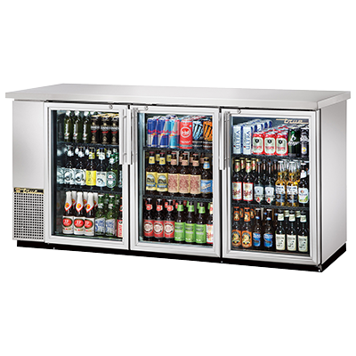 "True Three-Section Three Glass Door Stainless Steel Exterior Backbar Cooler 73""W"
