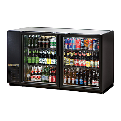 "superior-equipment-supply - True Food Service Equipment - True Two-Section Two Glass Door Black Vinyl Door Backbar Cooler 60""W"