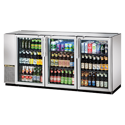 "superior-equipment-supply - True Food Service Equipment - True Three-Section Three Glass Door Stainless Steel Exterior Backbar Cooler 72""W"