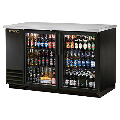 "True Two-Section Two Glass Door Black Vinyl Exterior Backbar Cooler 59""W"