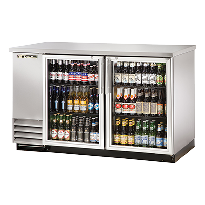 "superior-equipment-supply - True Food Service Equipment - True Two-Section Two Glass Door Stainless Steel Exterior Backbar Cooler 59""W"