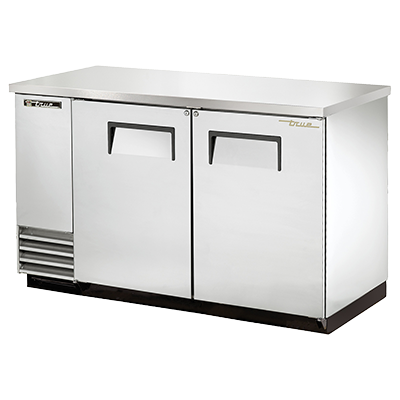 "True Two-Section Two Door Stainless Steel Exterior Backbar Cooler 59""W"